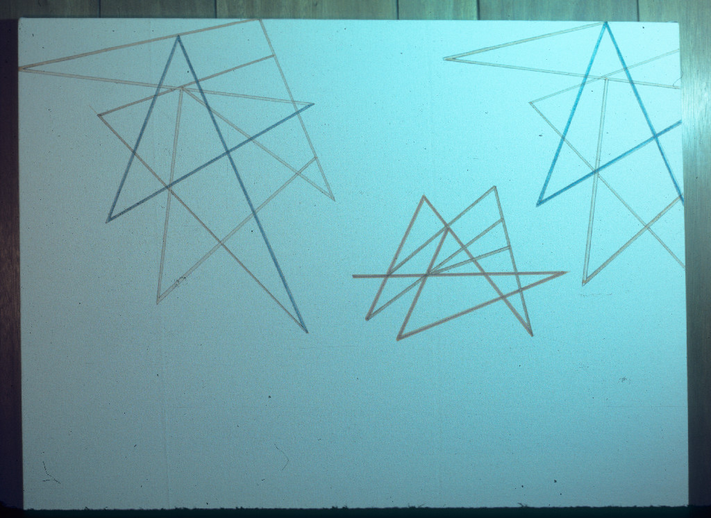 Clifford Singer, Geometrical Birds, 1975©, Ink on raw unprimed canvas, 40 x 50 inches. Collection of the Artist.