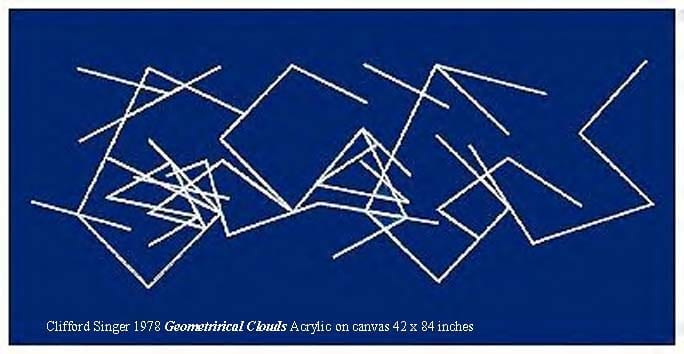 31.) Clifford Singer, Geometrical Clouds, Acrylic on canvas, 42 x 84, 1978