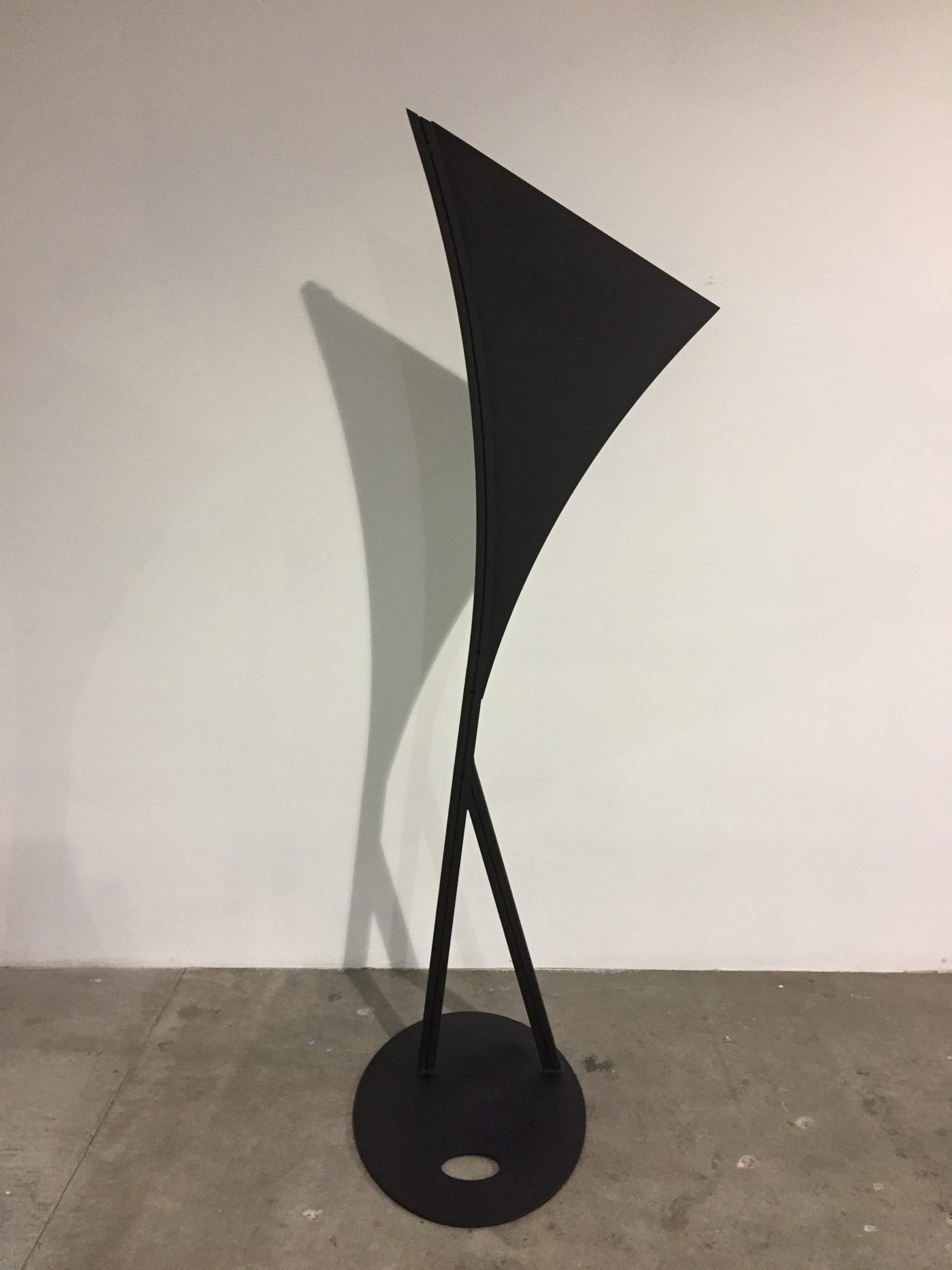 Clifford Singer, Black Sail, 2018, enamel on aluminum, 82 x 31 x 30 inches