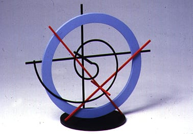 Clifford Singer, Spiral with XY axis, 1989, acrylic on wooid, Plexiglas, vinyl, 12 x 7 x 8 inches