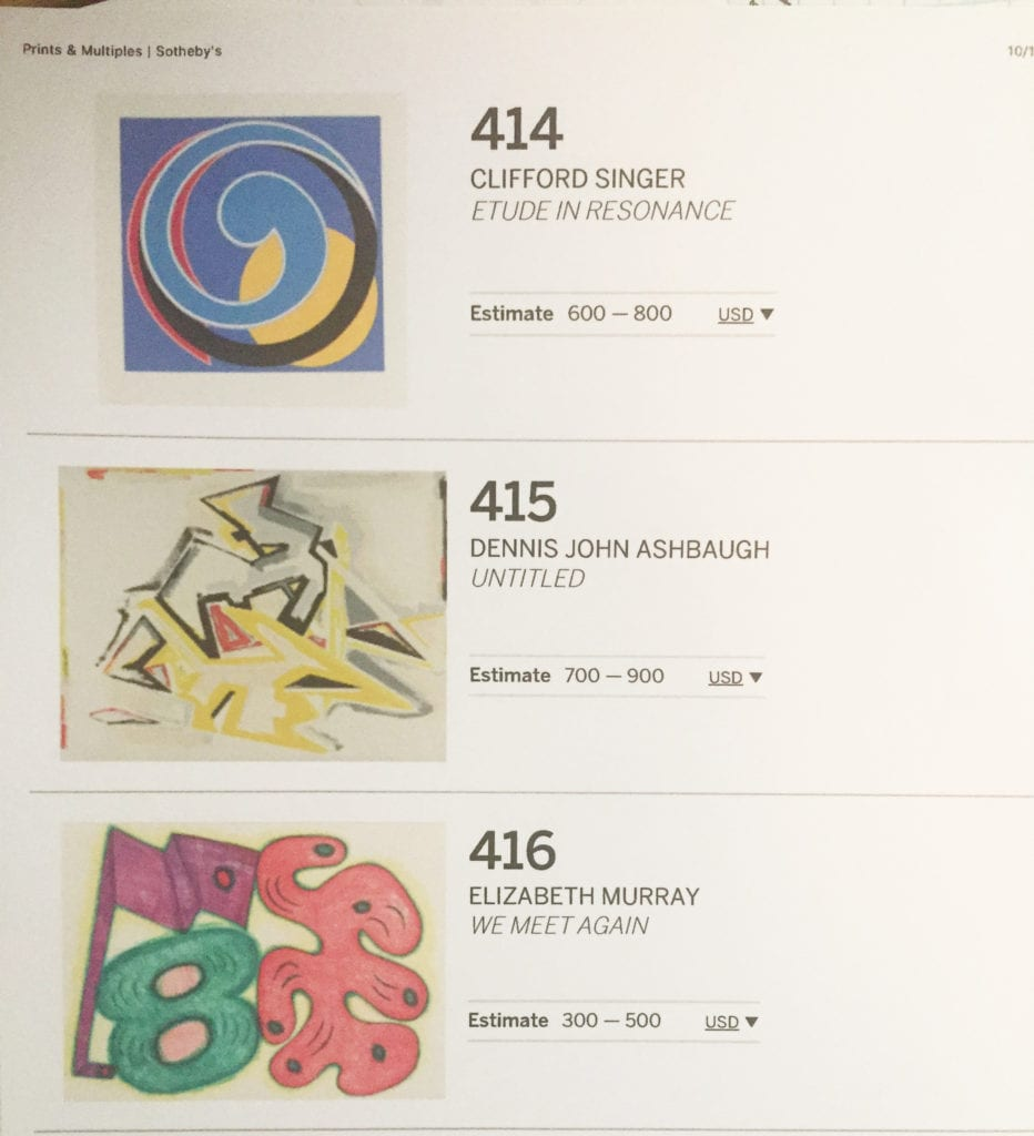 Sotheby's Print Auction 2018